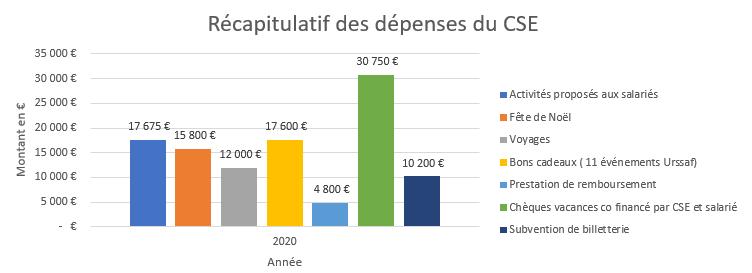 Récapitulatif des dépenses du budget prévisionnel des activités sociales et culturelles du CSE